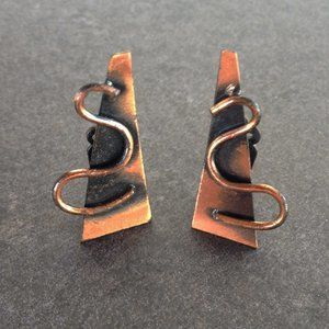 Vintage 60's Modernist Copper Earrings